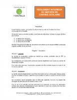 REGLEMENT INTERIEUR SERVICE DE CANTINE SCOLAIRE 2018